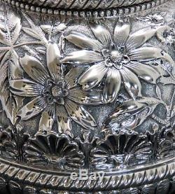 1888 Superbe Ensemble De Thé Floral Repousse 5 Pièces Gorham En Argent Sterling