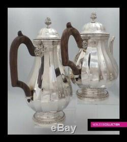 1900 Antique Lourds Tea Argent Sterling Français & Café 4pc 2829 Grammes