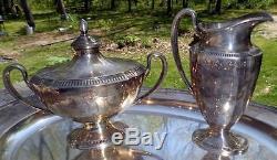 1921 Grosvenor Community Plate Ensemble De Thé 5 Pc (2) Pots Creamer Sugar & 18 Tray