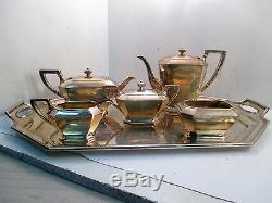 1946-1951 Ensemble Thé / Café Farham De 6 Pièces En Argent Sterling Gorham Avec Plateau