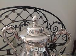 1950 Beautiful 7pc Silverplate USA Made Coffee / Set De Thé Avec Bac À Papier Et Eau Chaude