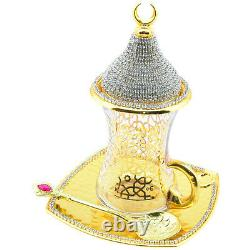 24 Pcs Turc Tea Glasses Saucers Spoons Couvercles Ensemble, Décoré De Cristaux, Or
