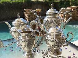 4pc Vieux Café De Thé Ensemble International Sterling Argent Rare Grands Pots Bol 89 Oz