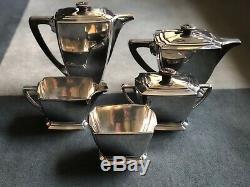 5 Pc 1847 Rogers Bros Héritage Silverplate Art Deco Café / Thé Set C1929