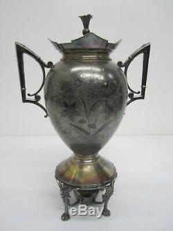 5 Pc Antique Meriden Britannia 1884 Silverplate Thé Argenté Café Set Urne