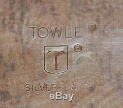 5 Pc Towle Louis Philippe Silverplate Set De Thé Café Théière Creamer Sucre Et Plateau
