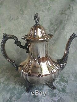 5 Vtg Poole Argent Lancaster Rose Tea Set 30 Plateau Café Sucrier 062
