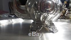 5540g Ensemble Sterling Argent Rich Anglais Style Café-tea 5 Itemperez. Fer & Welsch