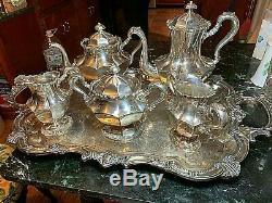 6-pc. Silverplate Meridan Tea Set Withsheffield 25.5tray Poli, Gleaming, Nice