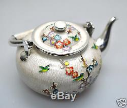 637 Gr Export Enamel Cloisonne Argent Korea Korean Teaset Teapot Cup Saucer