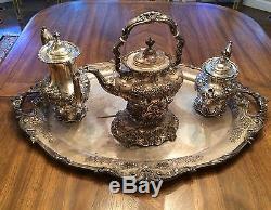 7 Pièces Francis I Par Reed Et Barton Sterling Silver Tea Set Avec Grand Plateau