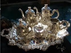 7p Ancien Rare Belge Tea Coffee Set Argent Louis XIV Versailles Pot Tray