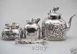 939 Grs Antique Chinoise À Chine À L'exporture Ensemble En Tigre À L'argent Pot Bowl Creamer 1880
