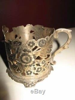 À Thé En Argent Antique Vieux Cru Persian Ensemble De 6 Tasses De Design Floral Avec Du Verre