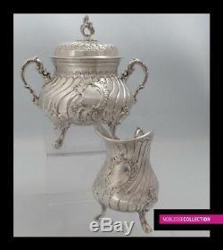 Amazing Antique 1890 French Plein Argent Sterling Pot À Thé Ensemble 3 Pc Style Rococo