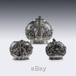 Ancien Xixe Export Chinois Tu Mao Xing Set De Thé En Dragon Argent Massif C. 1890