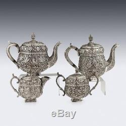 Ancienne En Argent Massif Xixe Ancienne Et Coffee, Kashmir V. 1880