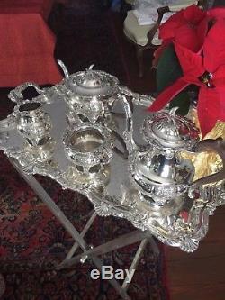 Anglais Sheffield Silver Plate Café Et Thé Set N. Vent Masque Thème Afterbarker