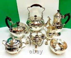 Angleterre Sterling Silver 7 Thé Piece Service À Café 4530 Grammes
