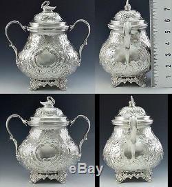 Antique 1840's American Sterling Silver 3 Pc Teaset- Pot De Thé, Sugar Bowl, Creamer