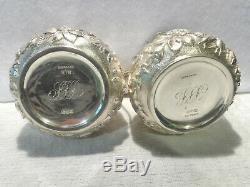 Antique 1880 De Krider Sterling Silver Floral Repousse 4-pc. Tea Set 18 Troy Oz