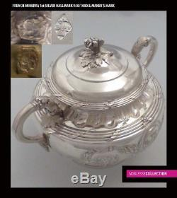 Antique 1880s En Argent Sterling Argent Pouce À Sucre Ensemble Crème 3pc Armorial