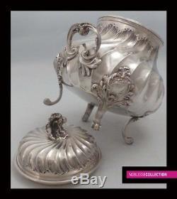 Antique 1890s Français Tout Argent Sterling Thé & Coffee Pot Set 4pc Rococo 2233 G