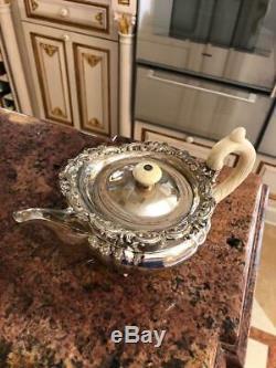 Antique 19thc Impériale Russe En Argent Massif 4ps Thé & Café Set, Sazikov C1839