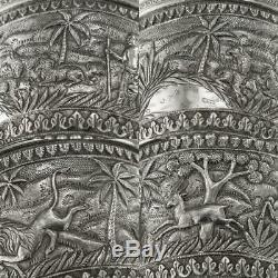 Antique 20thc Indian Karachi-cutch Solide Ensemble De Thé En Argent, J Manikrai C. 1900