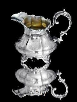 Antique 9pc. Argent Sterling Victorienne Tea / Café Avec Tablette, 1800 1849