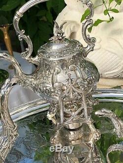 Antique Anglais Argent-microplaques Café Et Thé Avec 2 Pièces D'eau / Thé Urne & Plateau