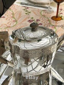 Antique Anglais Art Déco 7 Pièces En Argent Plaque Café Et Thé Set Wi Eau / Thé Urne
