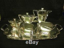 Antique Art Deco 1847 Rogers Bros Silverplate Legacy Coffee Pot Thé Théière Ensemble