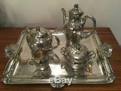 Antique Art Nouveau Christofle Gallia 4 Pièces Tea & Coffee Set, 1890.