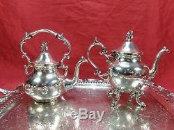 Antique Birmingham Argen Tea Coffee Service 8 Pc. Plateau D'argent Sur Set Cuivre