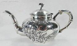 Antique C. J. & Co 19 C. Argent Chinois D'exportation Sterling À Thé Café Avec Plateau