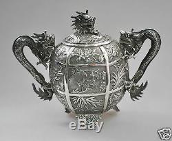 Antique China Chinese Export Ensemble De Thé En Argent Massif Pot Bowl Creamer 1850