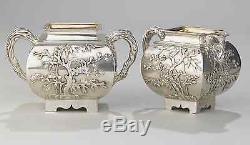 Antique Chinese China Export Ensemble De Thé En Argent Wang Hing Pot Bowl Creamer 1880