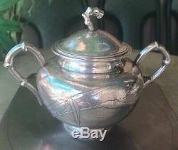 Antique Chinois China Export Argent Massif À Thé Pot Bowl Creamer