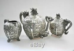 Antique Chinois China Export En Argent Massif À Thé Pot Bowl Creamer 1850