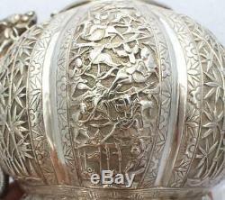 Antique Chinois D'exportation D'argent Massif À Thé (r2657)