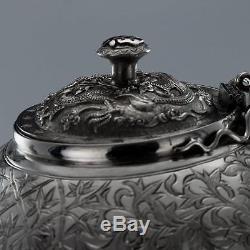 Antique Chinois Xixe Exportation Tu Mao Xing Ensemble De Thé Dragon En Argent Solide C. 1890