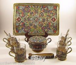 Antique Cloisonné Persian Émail Silver Tea Set Gilt Coupe Bol Plateau Cuillère Et Pinces