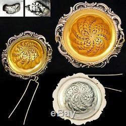 Antique Français Sterling Silver Gold Vermeil Service À Thé, Cuillères Set, Pince À Sucre