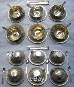 Antique Islamique Moyen-orient Persian Solid Argent Set De Café En Thé 2705gr / 95oz