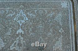 Antique Qajar Rasht Persan Solid Silver Trey & Tea Caddy's Set Museum Qualité