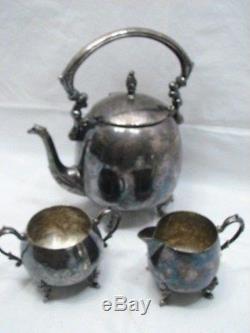 Antique Set De Café / Thé Sheridan Silver Sur Cuivre Plaque Théière Théière Pot De Sucre