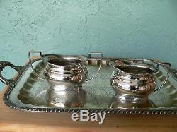 Antique Sheffield Angleterre Crafton Silver Plate Tea Set & Lg Service 1920 Plateau