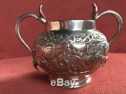 Antique Silver Indian Tea Set. Bombay Argent. 1900. 758 Gms