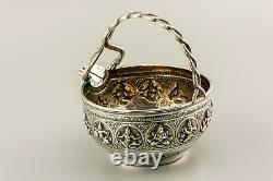 Antique Silver Solid Indian Swami Lait Creme Jug C. Krishniah Chetty C. 1900